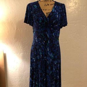 Chaps wrap over V-neck dress, size large